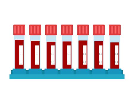 Set test tube with blood. Virus analysis. Test tubes on stand awaiting analysis of blood result. Vector illustration