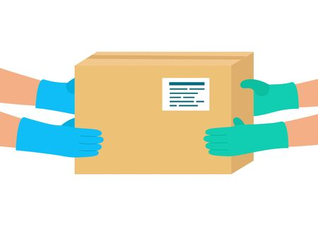 Safe order delivery of goods to buyer. Courier delivered package to destination. Man holding cardboard boxes in rubber gloves. Online shopping and express delivery. Vector illustration