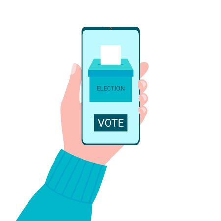 Online voting concept from smartphone screen. Voting box and voters choose. Put ballot paper in ballot box. Online electronic voting and election concept. Vector Иллюстрация
