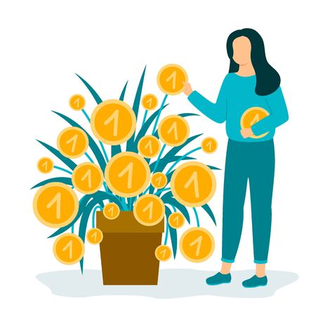 Woman collects coins. Business investment profit. Revenue and income metaphor. Character businesswoman picking cash from money plant. Investor strategy, financing concept. Vector illustration isolated 向量圖像