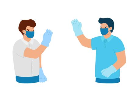 Greeting from distance in protective gloves and mask. Business relations at distance. Conclusion of contract for pandemic, disease. Vector illustration