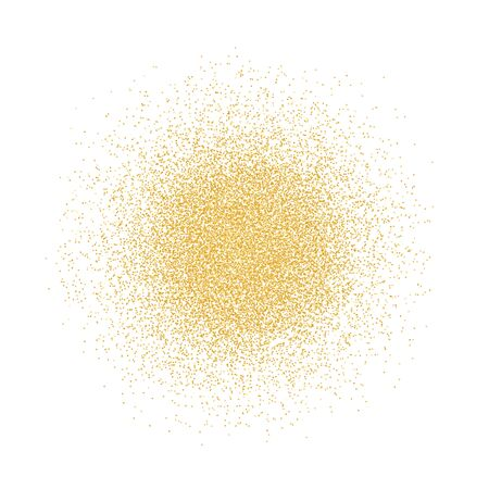 Golden glitter background. Pattern with gold sparkles and glitter effect. Empty space for your text. Vector illustration on white background