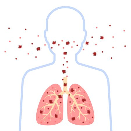 Respiratory system, infected man silhouette. Corona virus design with disease lungs and virus. Coronavirus disease spread, symptoms. Vector illustration