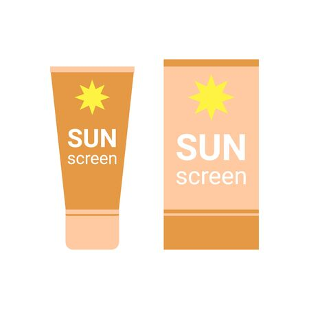 Sunscreen bottle. Sunblock moisturizer lotion cream. Suncream protection cosmetic tube uv, solar care product mockup. Vector