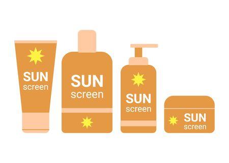 Sunscreen bottle. Sunblock moisturizer lotion cream. Suncream protection cosmetic tube uv, solar care product mockup. Vector