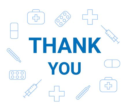 Thank you words and icons medicine. Appreciation doctor, nurse and medical personnel for fighting the virus. Vector illustration on white background