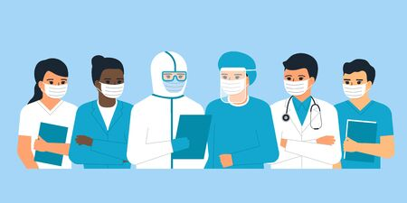 Doctors and nurses medical personnel, man and woman medical professional is hero. Multicultural team of doctors at a conference. Health care worker. Fight against viruses. Vector illustration
