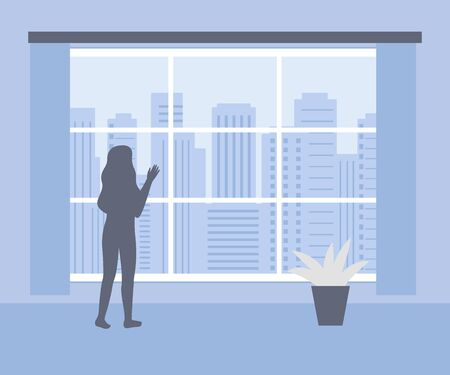 Woman stands at home and looks out of window at city. Female silhouette in interior of house. Lonely, boredom, expectation, hope. Stay at home. Quarantine isolation. Vector illustration