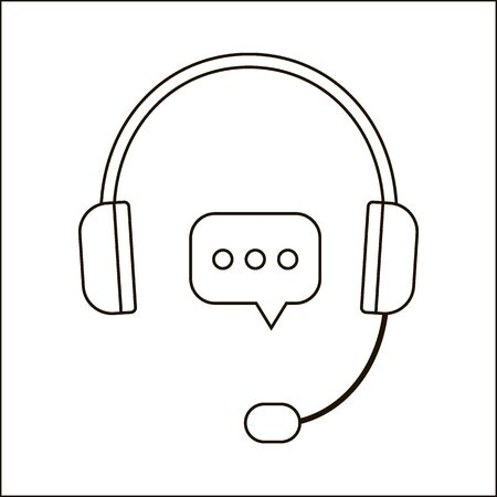 Hot line, help, response, consultation via telephone at call center. Headphones with microphone icon. Head phone black. Vector illustration