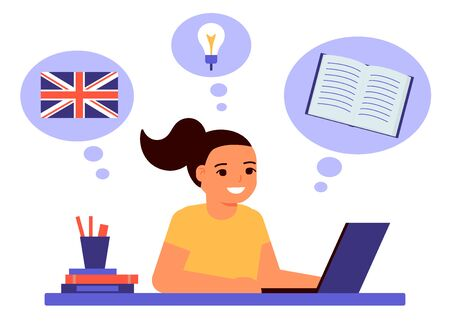 Girl sits on laptop and learns an English lesson. Child learns remotely foreign language. Home school, web e-learning, online education, knowledge concept. Vector flat