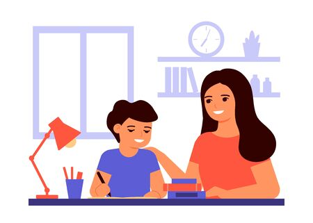 Boy student is sitting at home and is learning lesson with help of teacher, mom. Child is doing homework. Mom helps with solving tasks. Home school, online education, knowledge concept. Vector flat Vettoriali