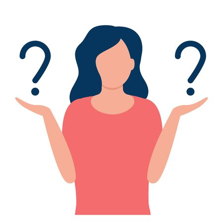 Young woman with question marks. Comparison, ratio, choice, contrast, hopeless. Woman thinks or solves problem. Pensive girl asks questions. Thinking, troubled, worried, confused woman Vector flat