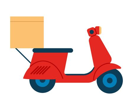 Red motorcycle with box goods. Online delivery service, transportation, delivery home. Vector Иллюстрация