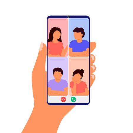 Abstract group of people talking and meeting in video call. Hand holding smartphone. Working by internet from home. Colleagues video online conference. Communication, chat friends. Vector 矢量图像