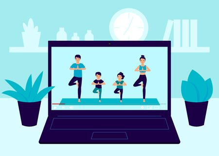 Laptop screen video of yoga family exercise at home. Father, mother and children workout, practicing yoga in room, relaxing exercise at home. Video online exercise, meditation at home. Vector Çizim