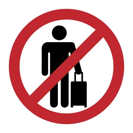 Travel ban icon. Man with suitcase for travel closed sign. Restriction, prohibition on movement. Adventure with luggage. Vector