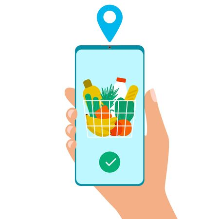 Grocery delivery at home. Hand hold smartphone app for shopping goods. Shopping cart for buyer with fresh vegetables, food and beverage. Internet online purchase. Vector 矢量图像