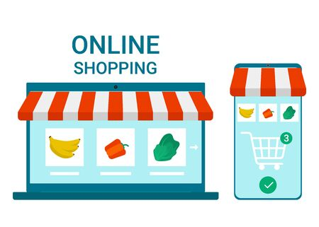 Retail to online. Smartphone and laptop app for shopping goods. Grocery delivery at home. Shopping cart for buyer with food. Internet purchase. E-commerce on computer and smartphone. Vector