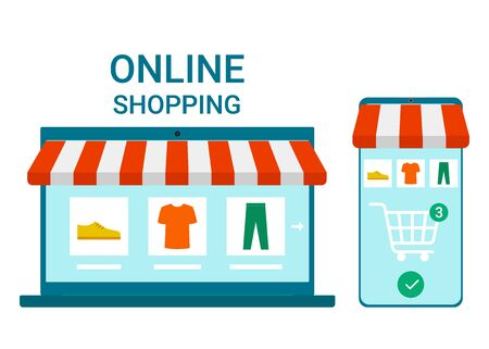 Retail to online. Smartphone and laptop app for shopping goods with delivery at home. Shopping cart for buyer with clothes and shoes. Internet purchase. E-commerce on computer and smartphone. Vector