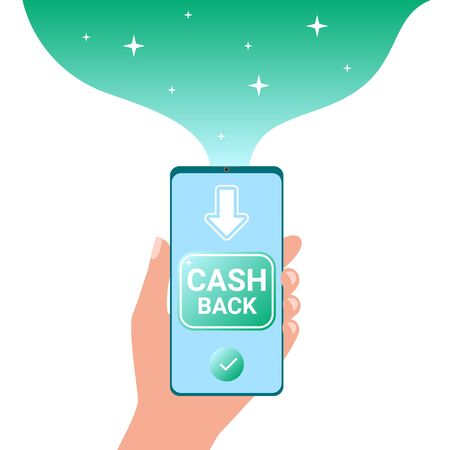 Cash back. Refund, cash back to smartphone. Rewarding, bonus, money profit return Vector
