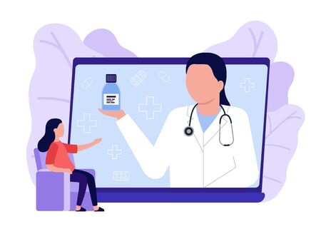 Online medical advise, consultation service. Woman call videoconference with doctor, online internet consultation. Laptop screen with therapist. Ask doctor. Vector flat illustration 矢量图像