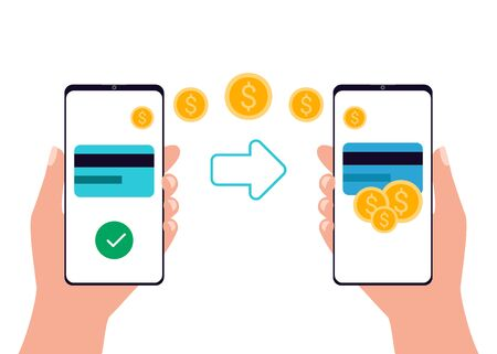 Mobile payment transfer. Online banking payment app smartphone. People sending and receiving money wireless. Hands holding smartphones. Vector illustration 矢量图像