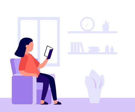 Girl is sitting in chair and reading book. Learning, relaxing with book. Reading at home by window. Woman with book. Vector