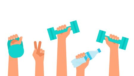 Hands hold dumbbell, weight and bottle water. Time for sports during quarantine and isolation of house. Sport, healthy lifestyle, activity, gym, workout, recreation concept. Vector flat
