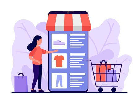 Retail, shop to online. Smartphone app for shopping goods. Woman makes purchases via phone online, choosing product. Shopping cart with clothes and shoes. E-commerce on smartphone. Vector