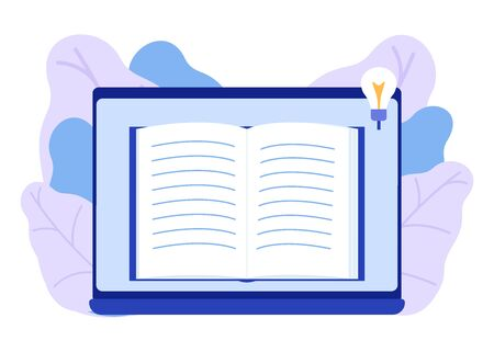 Online book, e-book, distance learning. Reading book and enjoy literature. An open book for learning, education and entertainment. Love of reading, learning. Vector