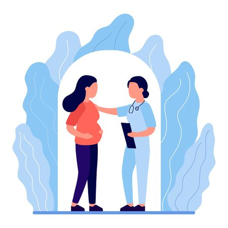 Young pregnant woman in consultation with doctor. Monitoring pregnancy and health. Expectant mother, motherhood, single mother. Communication, support of medical personnel. Vector flat illustration 矢量图像