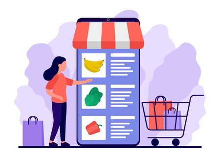 Retail food, shop to online. Smartphone app for shopping goods. Woman makes purchases via phone online, choosing product. Shopping cart for buyer with food. E-commerce on smartphone. Vector