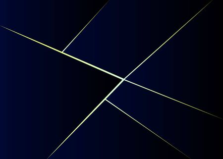 Abstract gradient polygonal dark blue with gold line background. Geometric triangle pattern. Vector