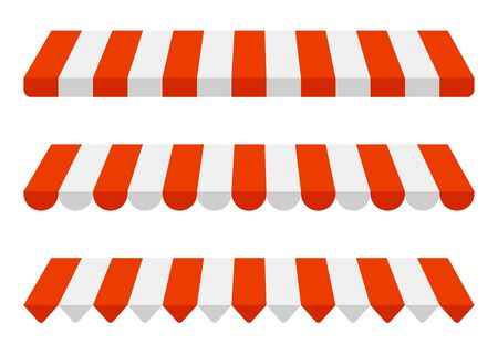 Striped awning set, red and white sunshade mockup. Canopy for shops, stores, hotels, cafes and street restaurants. Outside tent roof, canopy from the sun. Vector template illustration 矢量图像