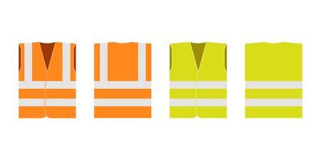 Safety road vest, jacket, waistcoat with reflective stripes set. Road vest for safe work. Front and back side. Set of orange and yellow work uniform with reflective stripes. Vector flat illustration