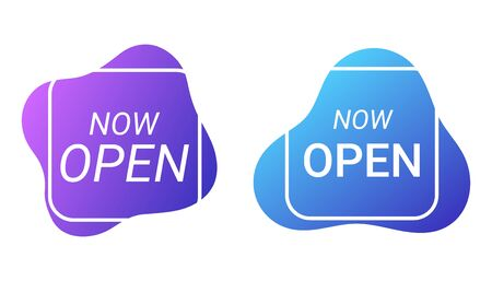 Now open, notice, announcement, sign. Text label for opening shops, restaurants, cafes for people to visit. Vector