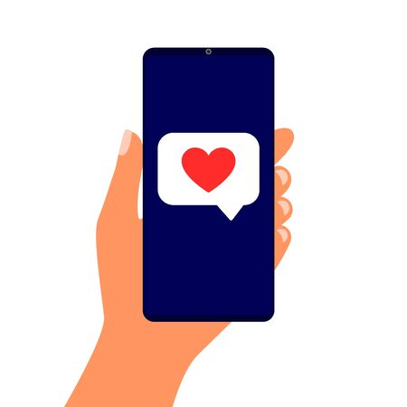 Smartphone in hand with red heart speech bubble. Message on screen like. Mobile communication. Vector illustration