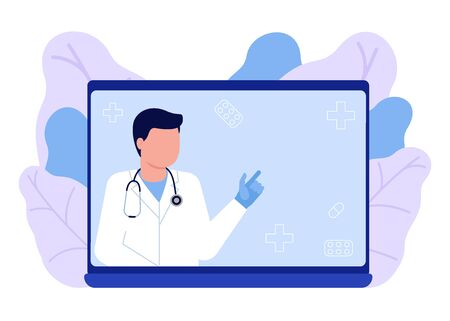 Online medical advise, consultation service, recommend. Online doctor. Videoconference with doctor, online internet consultation. Laptop screen with therapist. Ask doctor. Vector flat illustration 矢量图像