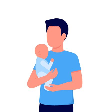 Abstract young dad and baby son. Father holds child in his arms. Family communication. Father's day. Vector on white background