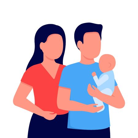 Abstract young mother, father and baby little son. Father holds child in his arms. Family communication together. Vector illustration on white background