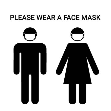 Please wear a face mask, sign. Man and woman silhouette with respirator protective mask on their faces. Personal protection in hazardous locations. Vector illustration 矢量图像