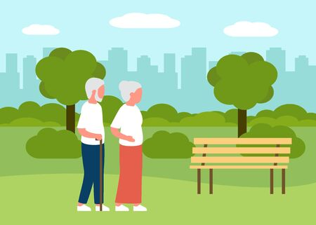 Summer landscape with senior people walking in city park. Family of elderly man and woman rest outdoors. City recreation area. Vector illustration 矢量图像