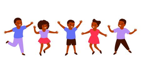 Group african black children. International Day of the African Child, 16 June. Happy kids jump together. Vector illustration on white background 矢量图像