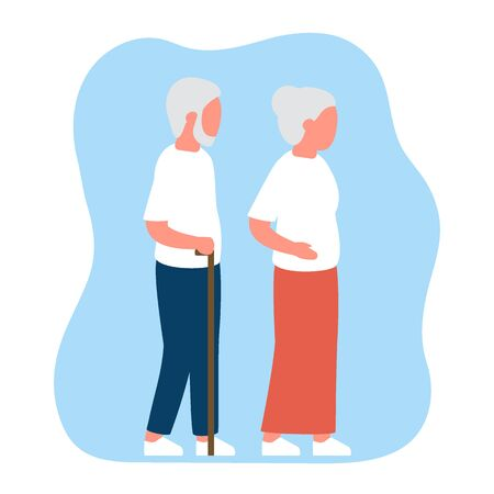 Senior elderly people man and woman. Old age family man and woman pair, view profile. Vector