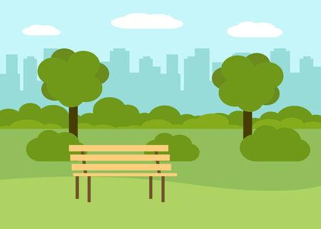 Summer landscape for walking in city park. Rest outdoors. City recreation area with bench. Vector illustration