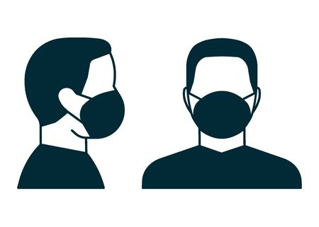 Wear a face mask, sign. Head people with respirator protective mask on their faces. Personal protection in hazardous locations. Vector illustration