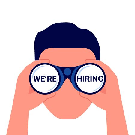 We are hiring. Man with binoculars looking for the best suited employee. HR, recruiting. Vector illustration