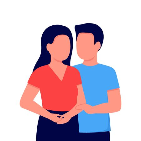 Abstract young couple man and woman. Relationship. Family communication together. Vector illustration on white background