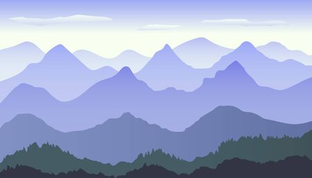 Beautiful blue gradient mountain landscape with fog and forest. Sunrise and sunset in mountains. Sunset in mountains landscape. Vector illustration