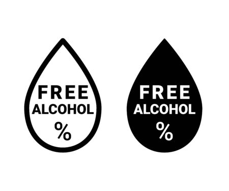 Alcohol free, icon. Sign for drinks, food, cosmetic or medical product. Alcohol free drop and percent symbol. Vector black and white